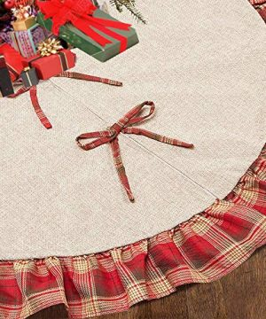 CHICHIC 48 Inch Christmas Tree Skirt Christmas Decorations Linen Burlap And Plaid Tree Skirt Ruffle Edge Large Mat Xmas Party Holiday Decorations Home Decorations Holiday Decorations Red Plaid 0 300x360