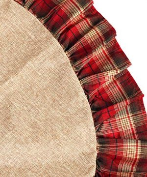 CHICHIC 48 Inch Christmas Tree Skirt Christmas Decorations Linen Burlap And Plaid Tree Skirt Ruffle Edge Large Mat Xmas Party Holiday Decorations Home Decorations Holiday Decorations Red Plaid 0 4 300x360