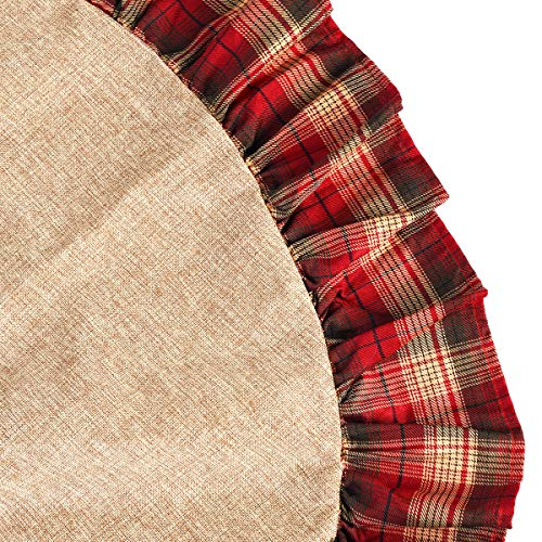 CHICHIC 48 Inch Christmas Tree Skirt Christmas Decorations Linen Burlap And Plaid Tree Skirt Ruffle Edge Large Mat Xmas Party Holiday Decorations Home Decorations Holiday Decorations Red Plaid 0 4