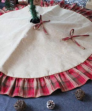 CHICHIC 48 Inch Christmas Tree Skirt Christmas Decorations Linen Burlap And Plaid Tree Skirt Ruffle Edge Large Mat Xmas Party Holiday Decorations Home Decorations Holiday Decorations Red Plaid 0 5 300x360
