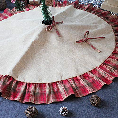 CHICHIC 48 Inch Christmas Tree Skirt Christmas Decorations Linen Burlap And Plaid Tree Skirt Ruffle Edge Large Mat Xmas Party Holiday Decorations Home Decorations Holiday Decorations Red Plaid 0 5