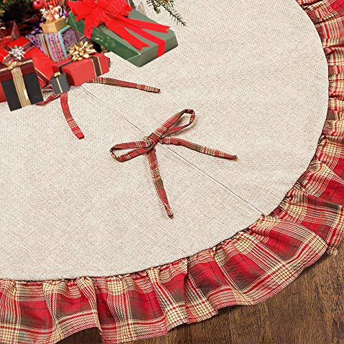 CHICHIC 48 Inch Christmas Tree Skirt Christmas Decorations Linen Burlap And Plaid Tree Skirt Ruffle Edge Large Mat Xmas Party Holiday Decorations Home Decorations Holiday Decorations Red Plaid 0