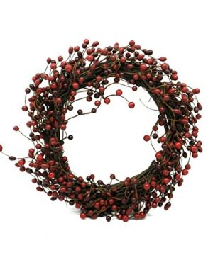 CVHOMEDECO Rustic Vintage Burgundy Pip Berries Wreath Holiday Berry Wreath For Christmas Plus All Winter Primitive Country Decoration Art 18 Inch 0 300x360