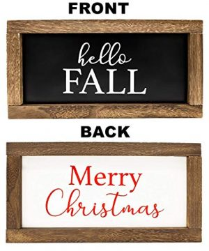 Cam N Honey Reversible Hello FallMerry Christmas Rustic Wood Sign Farmhouse Home Thanksgiving And Holiday Decor 0 300x360