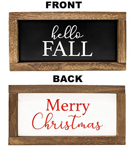 Cam N Honey Reversible Hello FallMerry Christmas Rustic Wood Sign Farmhouse Home Thanksgiving And Holiday Decor 0