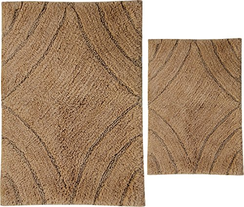 Castle Hill 2 Piece Diamond Design Bath Rug Spray Latex Natural 21 By 34 Inch And 24 By 40 Inch 0