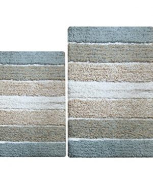 Chardin Home 100 Pure Cotton 2 Piece Cordural Stripe Bath Rug Set 21x34 17x24 Gray Beige With Latex Spray Non Skid Backing 0 300x360