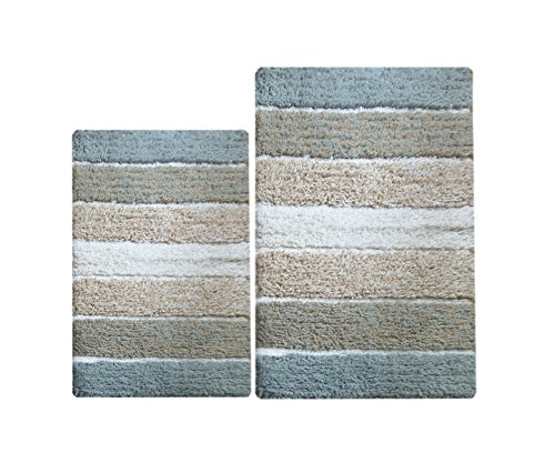 Chardin Home 100 Pure Cotton 2 Piece Cordural Stripe Bath Rug Set 21x34 17x24 Gray Beige With Latex Spray Non Skid Backing 0