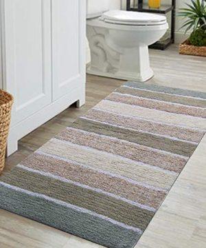 Chardin Home Cordural Stripe Bath Runner GrayBeige With Latex Spray Non Skid Backing 24 W X 60 L 0 0 300x360