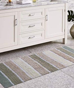 Chardin Home Cordural Stripe Bath Runner GrayBeige With Latex Spray Non Skid Backing 24 W X 60 L 0 300x360