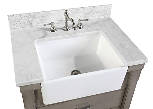 Charlotte 30 Inch Bathroom Vanity Carrara Weathered Gray Includes Weathered Gray Cabinet With Authentic Italian Farmhouse Goals