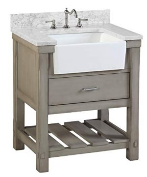 Charlotte 30 Inch Bathroom Vanity CarraraWeathered Gray Includes A Carrara Marble Countertop Weathered Gray Cabinet With Soft Close Drawers And White Ceramic Farmhouse Apron Sink 0 300x360