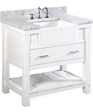 Charlotte 36 Inch Bathroom Vanity CarraraWhite Includes A Carrara Marble Countertop White Cabinet With Soft Close Drawers And White Ceramic Farmhouse Apron Sink 0 300x360