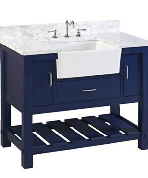 Charlotte 42 Inch Bathroom Vanity CarraraRoyal Blue Includes A Carrara Marble Countertop Royal Blue Cabinet With Soft Close Drawers And White Ceramic Farmhouse Apron Sink 0 300x360