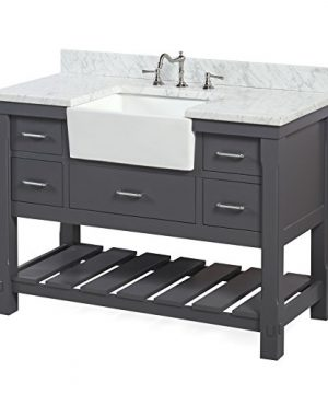 Charlotte 48 Inch Bathroom Vanity CarraraCharcoal Gray Includes A Carrara Marble Countertop Charcoal Gray Cabinet With Soft Close Drawers And White Ceramic Farmhouse Apron Sink 0 0 300x360