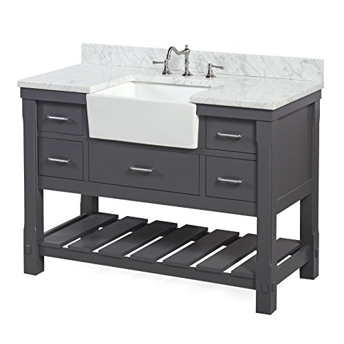 Charlotte 48 Inch Bathroom Vanity CarraraCharcoal Gray Includes A Carrara Marble Countertop Charcoal Gray Cabinet With Soft Close Drawers And White Ceramic Farmhouse Apron Sink 0 0