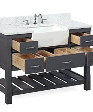 Charlotte 48 Inch Bathroom Vanity CarraraCharcoal Gray Includes A Carrara Marble Countertop Charcoal Gray Cabinet With Soft Close Drawers And White Ceramic Farmhouse Apron Sink 0 1 300x360