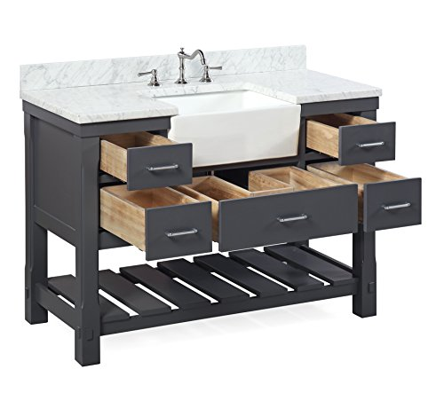 Charlotte 48 Inch Bathroom Vanity CarraraCharcoal Gray Includes A Carrara Marble Countertop Charcoal Gray Cabinet With Soft Close Drawers And White Ceramic Farmhouse Apron Sink 0 1