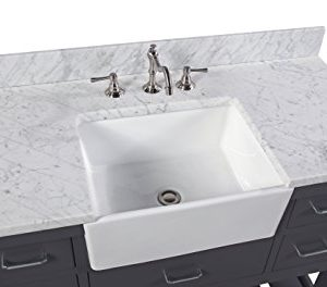 Charlotte 48 Inch Bathroom Vanity CarraraCharcoal Gray Includes A Carrara Marble Countertop Charcoal Gray Cabinet With Soft Close Drawers And White Ceramic Farmhouse Apron Sink 0 2 300x264