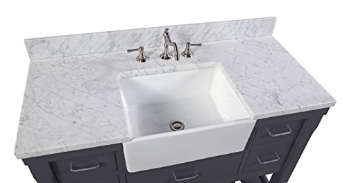 Charlotte 48 Inch Bathroom Vanity CarraraCharcoal Gray Includes A Carrara Marble Countertop Charcoal Gray Cabinet With Soft Close Drawers And White Ceramic Farmhouse Apron Sink 0 2