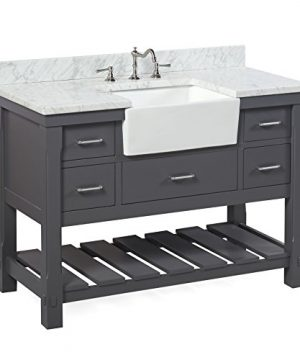 Charlotte 48 Inch Bathroom Vanity CarraraCharcoal Gray Includes A Carrara Marble Countertop Charcoal Gray Cabinet With Soft Close Drawers And White Ceramic Farmhouse Apron Sink 0 300x360