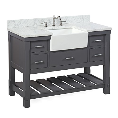Charlotte 48 Inch Bathroom Vanity CarraraCharcoal Gray Includes A Carrara Marble Countertop Charcoal Gray Cabinet With Soft Close Drawers And White Ceramic Farmhouse Apron Sink 0