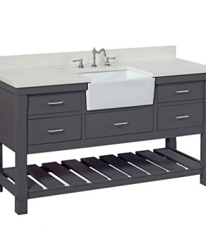 Charlotte 60 Inch Single Bathroom Vanity QuartzCharcoal Gray Includes A White Quartz Countertop Charcoal Gray Cabinet With Soft Close Drawers And White Ceramic Farmhouse Apron Sink 0 300x360