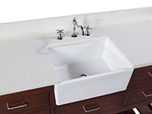 Charlotte 60 Inch Single Bathroom Vanity QuartzChocolate Includes A White Quartz Countertop Chocolate Cabinet With Soft Close Drawers And White Ceramic Farmhouse Apron Sink 0 2 300x226