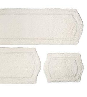 Chesapeake Paradise 3 Pc Memory Foam Ivory Bath Rug Set 43260 22x60 21x34 17x24 0 300x334