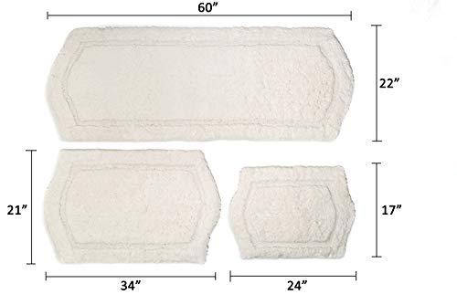 Chesapeake Paradise 3 Pc Memory Foam Ivory Bath Rug Set 43260 22x60 21x34 17x24 0 5