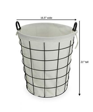 Cheungs 16S005 Lined Metal Wire Basket With Handles Black 0 0 300x360
