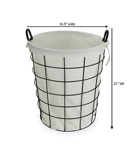 Cheungs 16S005 Lined Metal Wire Basket With Handles Black 0 0