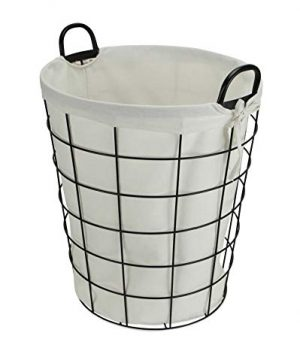 Cheungs 16S005 Lined Metal Wire Basket With Handles Black 0 1 300x360