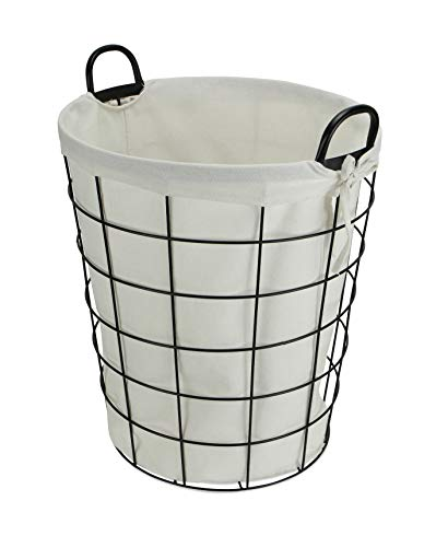Cheungs 16S005 Lined Metal Wire Basket With Handles Black 0 1