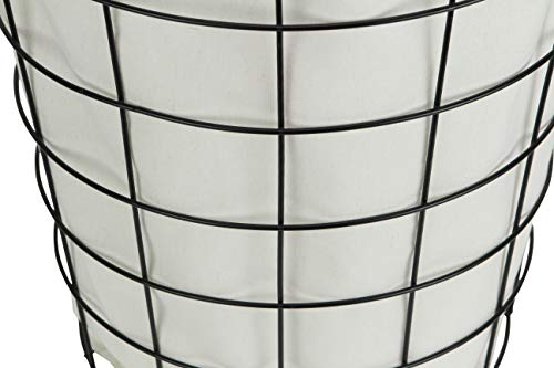 Cheungs 16S005 Lined Metal Wire Basket With Handles Black 0 2