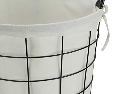 Cheungs 16S005 Lined Metal Wire Basket With Handles Black 0 3