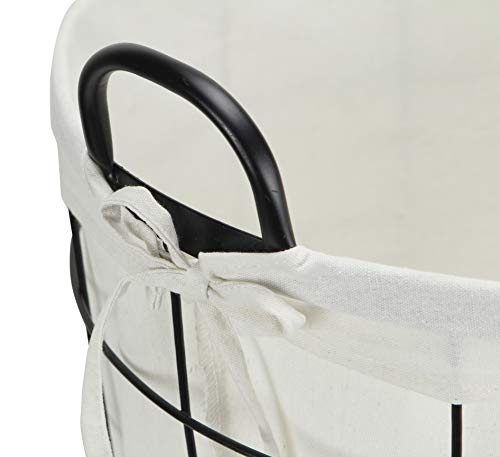 Cheungs 16S005 Lined Metal Wire Basket With Handles Black 0 4