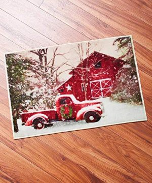Christmas Bathroom Rug With Retro Red Truck 0 300x360