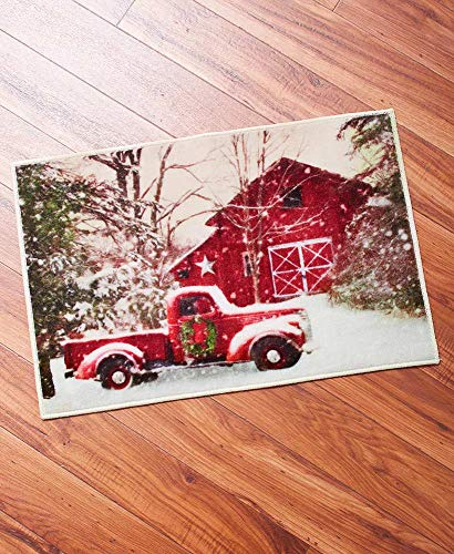 Christmas Bathroom Rug With Retro Red Truck 0