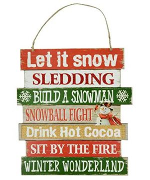 Christmas Decorations Celebrate A Holiday Wood Signs Wall Decor Farmhouse Indoor Outdoor Country Yard Porch Plaque Winter Hanging With Cord Let It SnowJingle Bells Wooden Hanger Decore Set Of 2 Pack 0 1 300x360