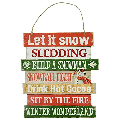Christmas Decorations Celebrate A Holiday Wood Signs Wall Decor Farmhouse Indoor Outdoor Country Yard Porch Plaque Winter Hanging With Cord Let It SnowJingle Bells Wooden Hanger Decore Set Of 2 Pack 0 1