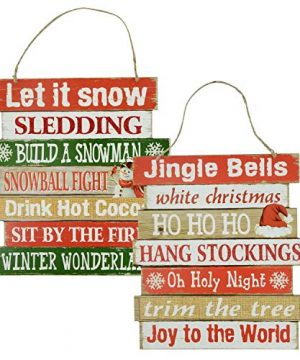 Christmas Decorations Celebrate A Holiday Wood Signs Wall Decor Farmhouse Indoor Outdoor Country Yard Porch Plaque Winter Hanging With Cord Let It SnowJingle Bells Wooden Hanger Decore Set Of 2 Pack 0 300x360