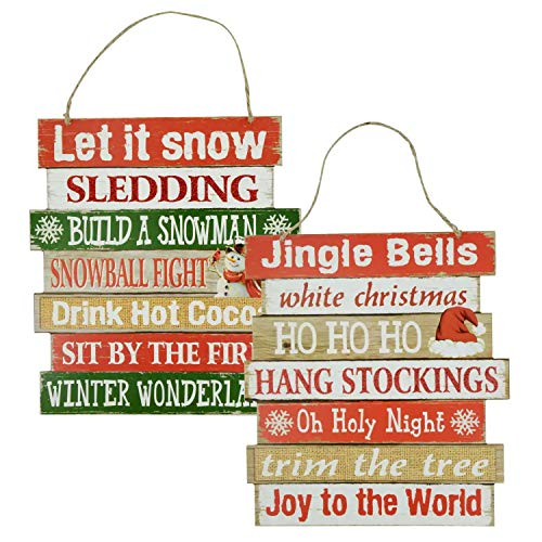Christmas Decorations Celebrate A Holiday Wood Signs Wall Decor Farmhouse Indoor Outdoor Country Yard Porch Plaque Winter Hanging With Cord Let It SnowJingle Bells Wooden Hanger Decore Set Of 2 Pack 0