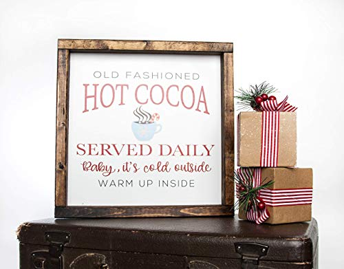 Christmas Hot Cocoa Vintage Wood Sign In Farmhouse Frame 12in X 12in 0 0