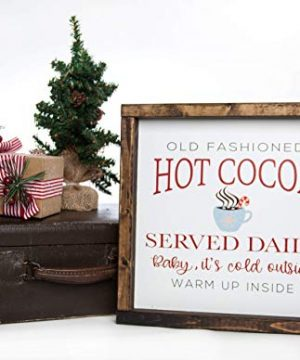 Christmas Hot Cocoa Vintage Wood Sign In Farmhouse Frame 12in X 12in 0 1 300x360