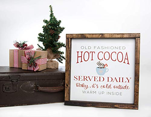 Christmas Hot Cocoa Vintage Wood Sign In Farmhouse Frame 12in X 12in 0 1