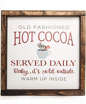 Christmas Hot Cocoa Vintage Wood Sign In Farmhouse Frame 12in X 12in 0 2 300x360