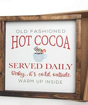 Christmas Hot Cocoa Vintage Wood Sign In Farmhouse Frame 12in X 12in 0 3 300x360