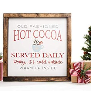 Christmas Hot Cocoa Vintage Wood Sign In Farmhouse Frame 12in X 12in 0 300x299