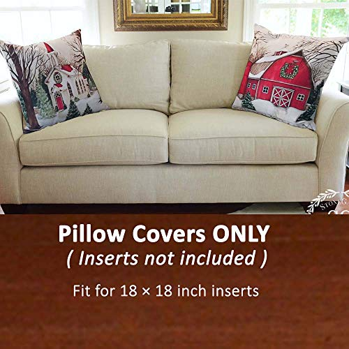 Christmas Pillow Covers 18x18 Inches Holiday Decoration with Farm House  Pattern for Couch Sofa Home Decoration Pillowcases Cushion (W/O Stuffing) -  2 ...